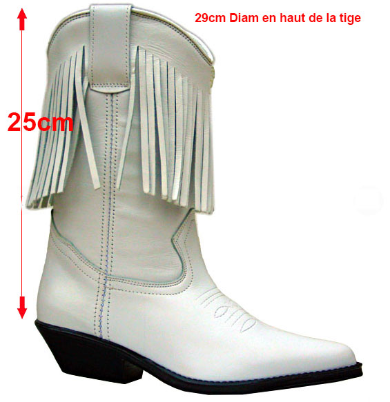 Bottes cuir country blanches à franges
