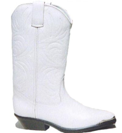 Bottes cuir country blanches