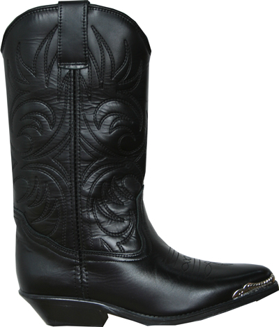 Bottes cuir country noire