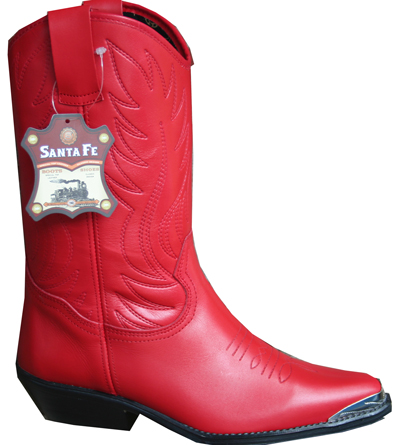 Bottes Cuir Country Rouge