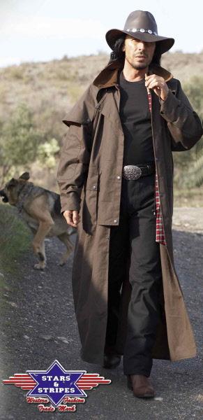 Cache poussière en coton huilé ou manteau long pour homme