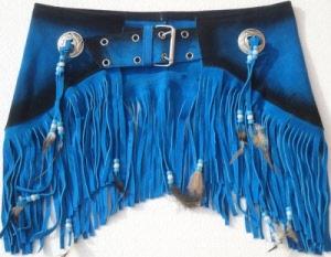 Ceinture cuir franges bleue 09ca8290af6